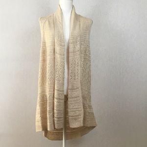 Westbound Beige Knit Open Sleeveless Cardigan Vest